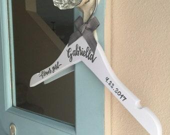 Flower girl hanger/Personalized baby hanger/Handlettered wood hanger/Calligraphy white hanger/Ring Bearer hanger