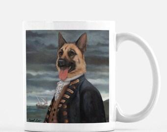 "German Shepherd Mug, Cute Dog Mug Tea Mug, Dog Coffee Mug, ""Admiral Shepherd"""