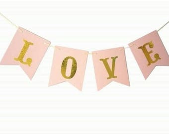 LOVE banner bunting pink with gold letters metallic hens | engagement | wedding / bridal shower | party decorations