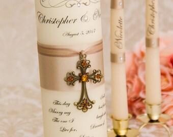 Champagne Unity Candle Set, Wedding Unity Candle Set, Personalized Ceremony Champagne Unity Candles Set, Christian Wedding Candle Set Cross