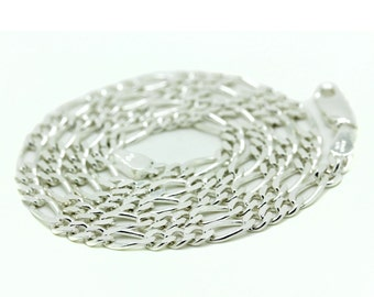 Sterling Silver .925 Figaro Chain Italy Necklace Mens Link 18-30In 3.7mm