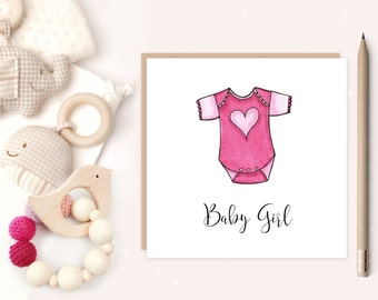 Baby Girl Greeting Card - baby girl card - baby pink - greeting card - new baby - ideal for new parents