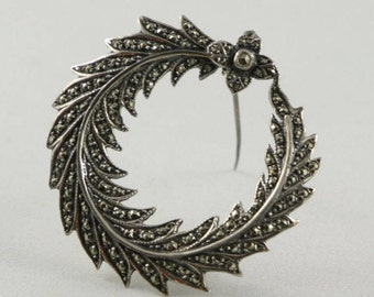 1940's Vintage Sterling Marcasite Wreath Brooch Vintage Marcasite Jewelry Vintage Silver Marcastite Brooch For Mom Gift For Mom Gift For Her