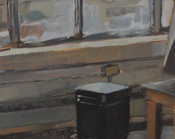 Original Oil Painting - Maryland Institute (MICA) Studio Classroom Window and Heater