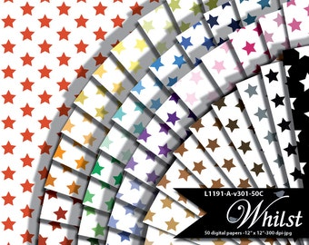 Rainbow color stars and white background digital paper, patriotic star scrapbook paper red white blue : l1191 a v301 50c