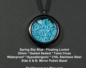 Blue Sky of Spring Floating Locket: 35mm * Gasket Sealed * Twist Close * Waterproof * Blue Sky Hand Dyed Rice Filling