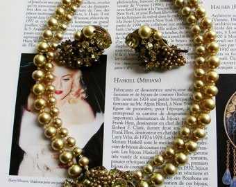 Signed 50's MIRIAM HASKELL statement set: earrings & necklace demi parure. Book Piece