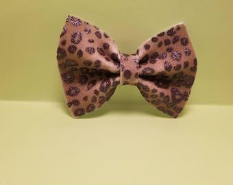 Brown Glitter Cheetah Print Faux Leather Hair Bow