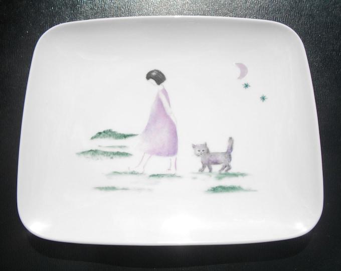 dessert plate / rectangular / handpainted /porcelaine/ poetic