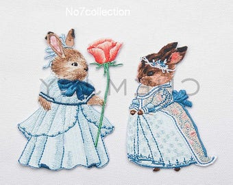 1Pair of Vintage Bunny Embroidered Patches