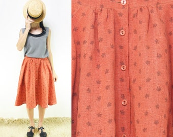 Coral Red Pure Vintage Linen Black Flowers Print Half-Circle Buttons Skirt, Small, Medium, Large [Joanna Skirt/Coral linen flowers]