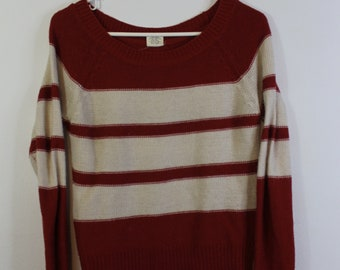 Red and Ivory Striped Sweater