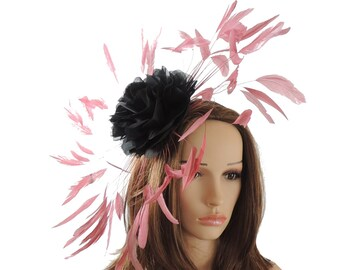 Black and Dusky Pink Marie Fascinator Hat for Weddings, Races, and Special Events With Headband