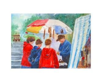 Original Watercolor Painting * STREET FAIR * Art By Rodriguez
