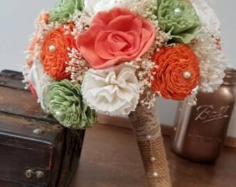 Wedding, Sola Bouquet, bride Bouquet , orange Bouquet, Alternative Bouquet,  Coral Bouquet, Sola flowers, Wood Bouquet, wedding bouquet