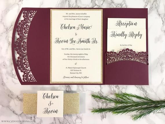 Burgundy And Gold Wedding Invitations: Burgundy And Gold Glitter Laser Cut Pocket Wedding Invitation