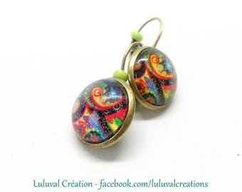 vintage cabochon 16mm glass multicolored ethnic earrings