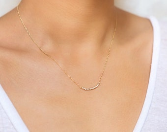 Dainty Gold Necklace, Crystal Necklace Gold, Curved Bar Necklace, Minimal Necklace, Gold Layering Necklace, Bar Necklace,Dainty Gold, N287-G
