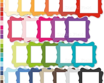 Colorful labels / frames clip art set - printable digital clipart - instant download