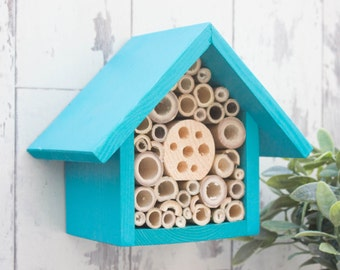 Single Tier Mason Bee Hotel, Beach Blue. Can be personalised.