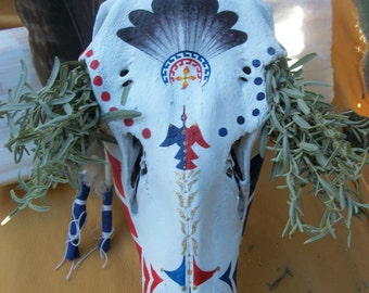 Painted Elk Skull & Desert Sage Smudge Bundle - Native American Style Southwestern Decor - Red Road Painting Wapiti Bone