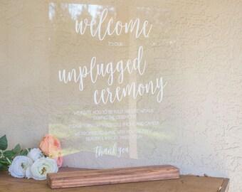 Unplugged Wedding Sign - Sign for Unplugged Wedding - Unplugged Wedding - Unplugged Ceremony Sign - Large Acrylic Wedding Sign -Acrylic Sign
