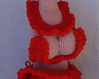 Crochet Pattern Wine bottle cozie Christmas bikini 2  - HaakpatroonWijnfles jasje Kerstbikini 2