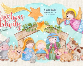 Christmas Nativity - Holy Family - art clipart - Illustration - Watercolor Elements - PNG file