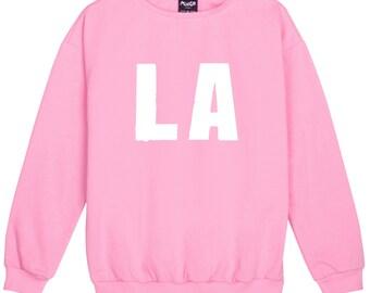 LA Sweater Jumper Womens Ladies Fun Tumblr Hipster Swag Fashion Grunge Kale Punk Retro Vtg Top Kawaii City Cute Girls Pink USA California