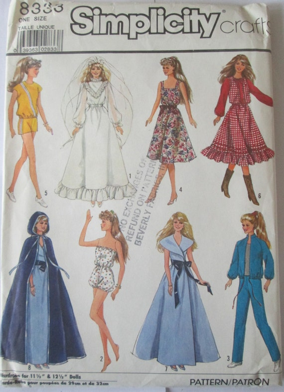Simplicity 8333 Barbie Doll Clothes Sewing Pattern 11 inch doll from ...