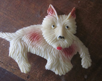 very lge celluloid dog pin, brooch, thirties