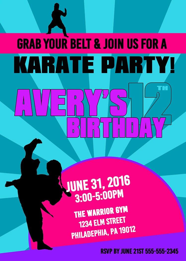 Martial Arts Birthday Invitations Choice Image - Invitation ...