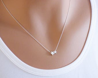 Star Necklace - Tiny small or both in sterling silver, Dainty Necklace, Silver Necklace, Minimalist Necklace, Star Jewelry