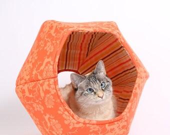 Orange Cat Cave - Orange Cotton Fabric Cat Bed - Cat Hideaway -the Cat Ball in Orange Woodlands Damask - Modern cat furniture in orange