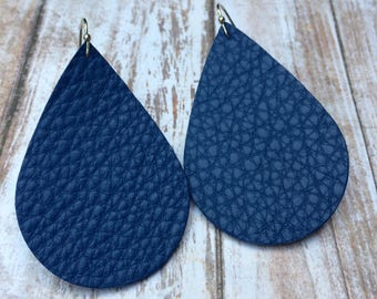 Teardrop leather earrings, royal blue leather teardrop earrings, royal blue leather earrings