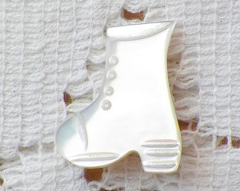 Sweet Vintage Boot Shaped / High Shoe Shaped Carved Mother of Pearl / MOP / Shell Novelty Button, Metal Shank, Quilting, Embellishment