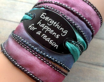 silk wrap bracelet- silk ribbon bracelet-boho-silk wrap-ruband de soie-seidenband-, Everything happens for a reason#213