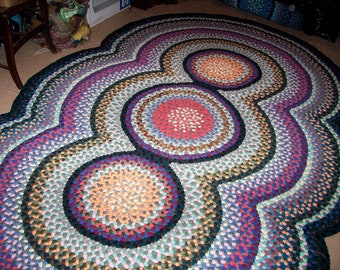DEPOSIT for Custom Order New Hand/ Handmade Wool 3 Circle Braided Rug 6' X9' with colors your choice