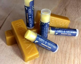 SALE! 4 Pack of Honey Beeswax Lip Balm / 100% Natural & Organic Lip Balm / Beeswax Salve / Natural Skincare / Free Shipping / Made in CA USA