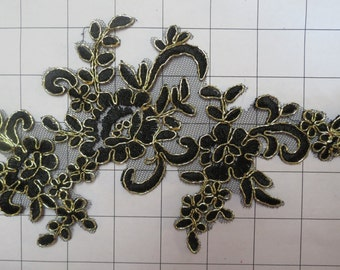 """Black Embroidered applique with Gold Border and net 9.5"""" x 5"""" (B-12)"""