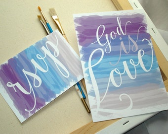 Watercolor God IS Love in Purple & Blue Wedding Invitation Set - Sample