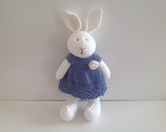 Knitted toy, handmade rabbit, hand made toy, soft toy, kids toy, rabbit toy, dressed bunny, present for kids, Easter gift, dressed rabbit