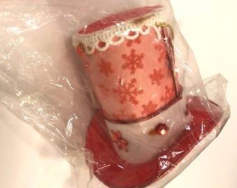 Vintage Christmas Shiny Brite Red Top Hat Ornament Unused Original Package MIP