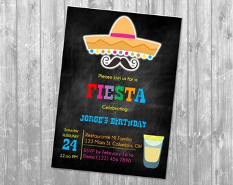 Birthday fiesta invitation. Invitación fiesta mexicana. Invitación de cumpleaños. Fiesta invite. Digital. JPEG file. Printable invitation.