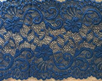 Stretch Lace - Indigo Floral Swirl