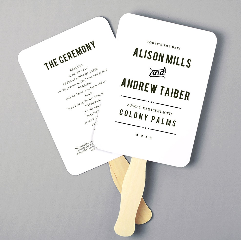 Fan Program Template Printable Fan Program Wedding Fan Template - 5x7 wedding program template