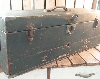 Wooden Tool Box, Large Wooden Carpenters Tool Box, Old Wood Carpenters Toolbox, Large Green Wooden Toolbox, Tool Box, Tool Box