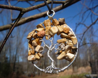 Wire-wrapped Tree of Life Pendant with Picture Jasper Stone Chips