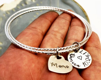 Sterling Silver ~ Three Bangle Cluster ~ Personalized Hand Stamped Heart Charm ~ Mother ~ Mom~ Mommy Layered Bracelet ~ Mother's Day Gift