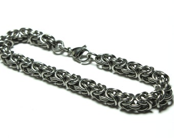 Stainless Steel Byzantine Chainmaille Bracelet | Hand Crafted Chainmaille Jewelry | Handmade Bracelet